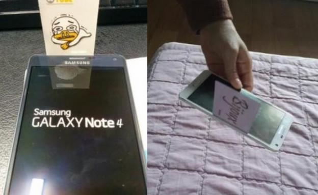 החריץ הרחב בשולי מסך Galaxy Note 4 של סמסונג