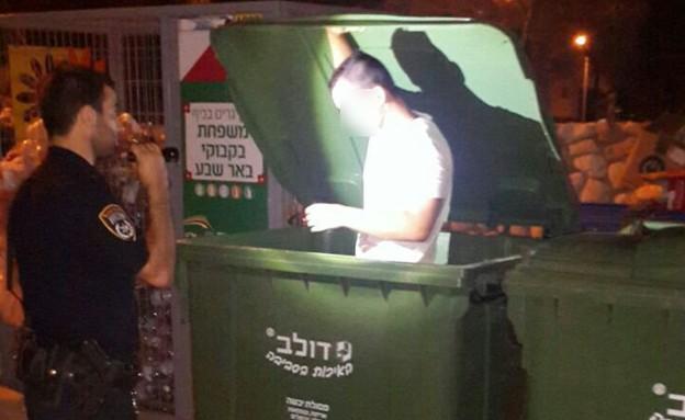 נהג שיכור בפח הזבל (צילום: משטרת מרחב הנגב)