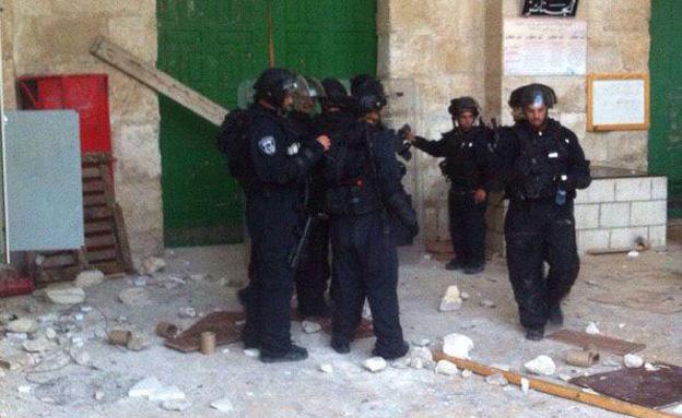 השוטרים בהר הבית, אתמול (צילום: חטיבת דובר המשטרה)