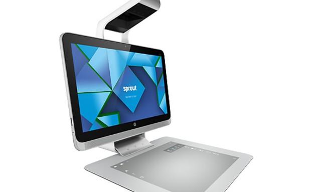 מחשב ה-Sprout של HP. מסך מוקרן במקום מקלדת ועכבר (צילום: HP)