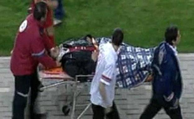 עלי חטיב לאחר התקיפה (צילום: ספורט 1)