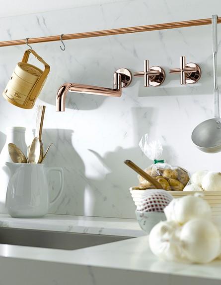 מטבחים 2015 ברזים בגימור חדש בגוון ורוד זהב, המורכב מזהב ונחושת (צילום: HeziBank Dornbracht , באדיבות  Thomas Popinger )