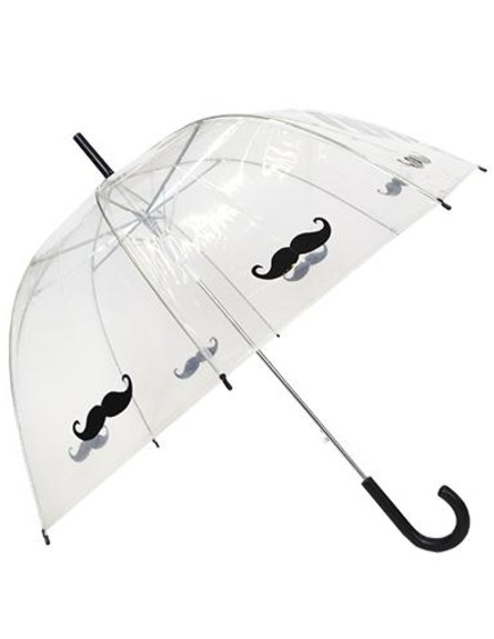 מטריות - מטריית שפמים שקופה באווירה משעשעת (צילום: susino.fr)