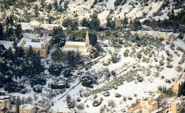 צילום אויר שלג בירושלים (צילום: חדשות 2)