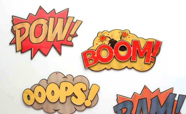עיצוב גיקי, שלטי קומיקס לקיר, 49-59 שקל, להשיג סטו (צילום: שחר רוזליס)