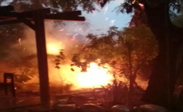 צפו: ברק גרם לשריפה בחצר בית (צילום: באדיבות משפחת וייסמן במושב גיאה)