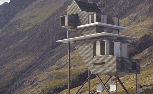 בית על עמודים בסקוטלנד (צילום: Alexis Raimbault)