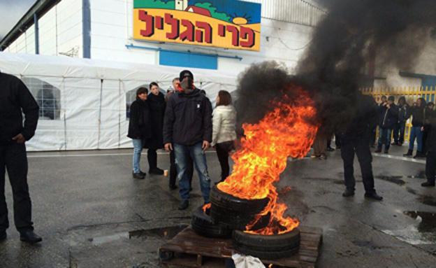 """מאבק המחאה של עובדי """"פרי הגליל"""" (צילום: גיא ורון)"""