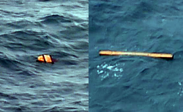 חלקים מהמטוס שצפו על פני המים, בשבוע שעב (צילום: sky news, cnn)