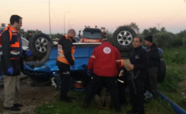 """זירת התאונה, הבוקר (צילום: דוברות כבאות והצלה מחוז יו""""ש)"""