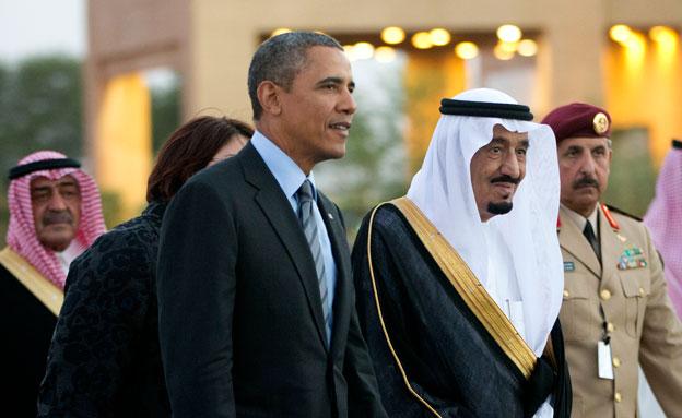 המלך עבדאללה עם הנשיא אובמה (צילום: AP)
