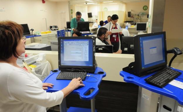 """חדר מיון ממוחשב בבית החולים רמב""""ם בחיפה (צילום: תומר נויברג)"""