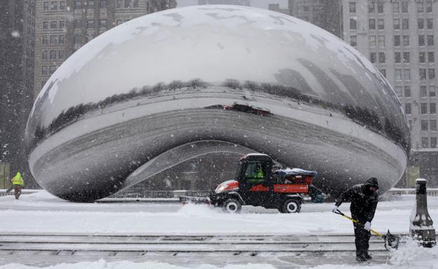 חורף בשיקגו (צילום: AP)
