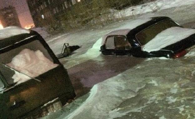 נהר קרח ברוסיה (צילום: dailymail.co.uk)
