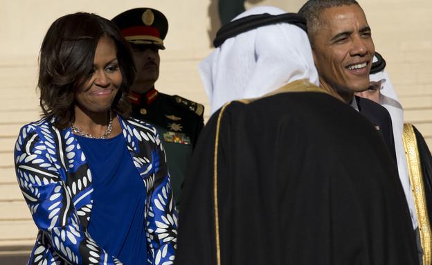 מישל אובמה ערב הסעודית (צילום: ap)