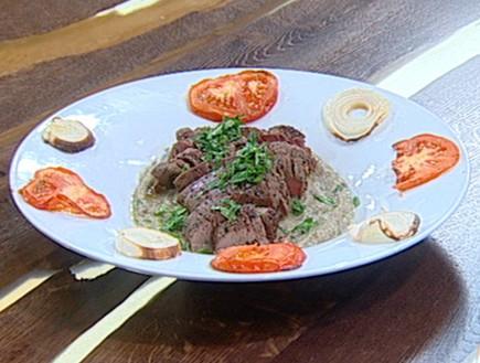 פילה בקר עם מחית חצילים (צילום: קשת, מאסטר שף VIP)