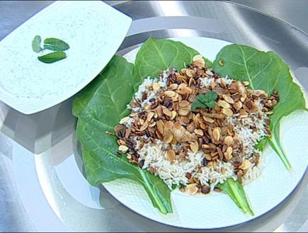 אורז עם בשר, שקדים וצנוברים (צילום: קשת, מאסטר שף VIP)
