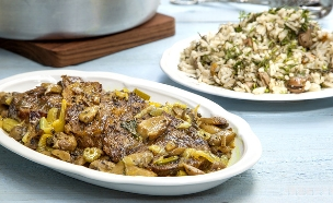 צלי בשר ופטריות עם אורז-פול (צילום: אסף אמברם, אוכל טוב)