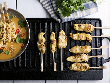 """שיפודי חזה עוף """"סאטה"""" אינדונזי עם רוטב בוטנים פיקנ (צילום: שירן כרמל, בית הספר הגבוה לקולינריה - בישולים)"""