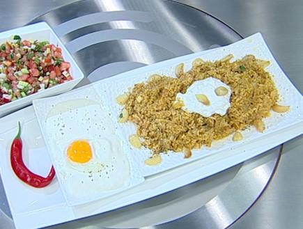 קיטשרי בתוספת ביצה עלומה וגבינות עיזים (צילום: קשת, מאסטר שף VIP)