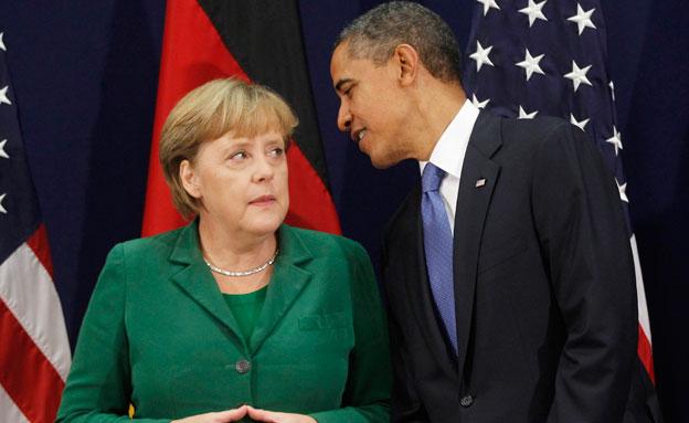 """""""מרקל לא הייתה מבקשת הזמנה"""". אובמה, אמש (צילום: AP)"""