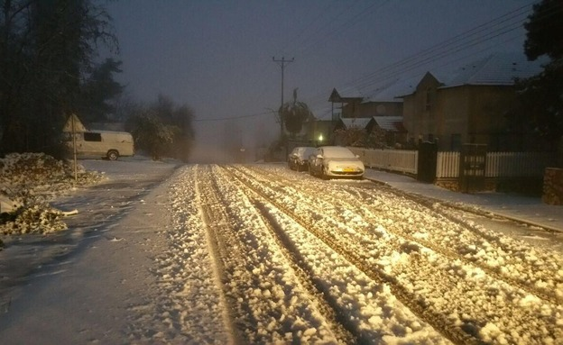 שלג בצפת (צילום: חדשות 2)