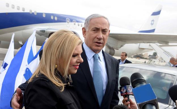 """ראש הממשלה בנימין נתניהו ורעייתו שרה ממריאים לארה"""" (צילום: אבי אוחיון)"""