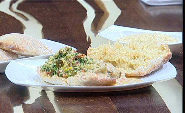 פרנה מרוקאית, טבולה וחציל קלוי (צילום: קשת, מאסטר שף VIP)