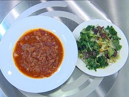מרק כרוב וסלט ירוק עלים (תמונת AVI: מתוך מאסטר שף VIP)