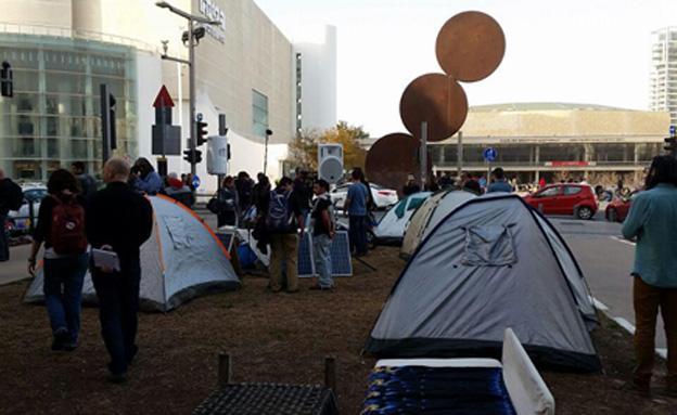 מאהל, הפגנה, רוטשילד (צילום: חדשות 2)
