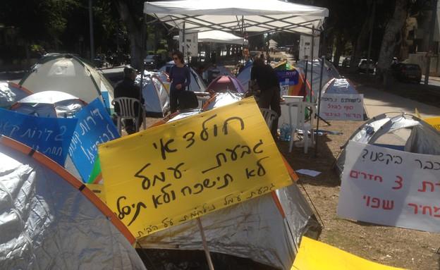 ארי פינס במחאת האוהלים החדשה (צילום: ארי פינס)