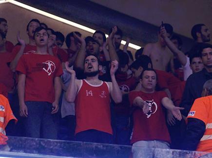האוהדים שרו, הקבוצה נענשה (אלן שיבר) (צילום: ספורט 5)