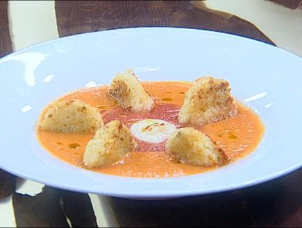 מרק עגבניות עם כדורי אורז (צילום: קשת, מאסטר שף VIP)