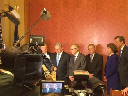 נתניהו עם ההנהגה הדו-מפלגתית של הסנאט, 3 במארס 2015 (צילום: טל שניידר)