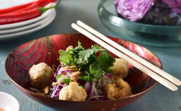 כדורי טונה מטוגנים עם סלט אטריות אורז חמצמץ (צילום: נמרוד סונדרס, אוכל טוב)