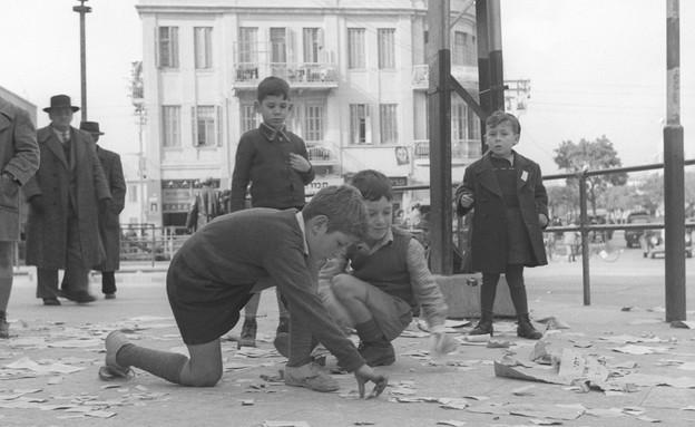"""בחירות ברחובות תל-אביב,1949 (צילום: ארכיון צה""""ל ומערכת הביטחון)"""