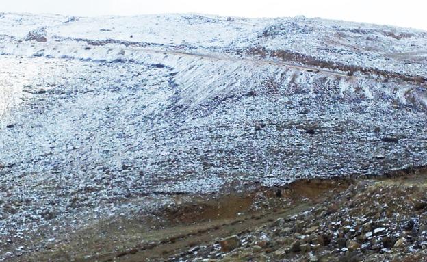 שלג בחרמון, הבוקר (צילום: רפאל נוה)