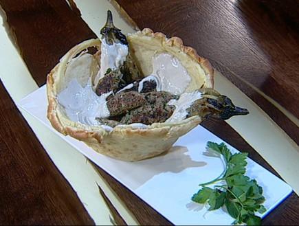 קבבוני כבש, טחינה בקערת פוקאצ'ה