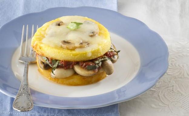לזניה פולנטה ופטריות ברוטב עגבניות בזיליקום (צילום: אנטולי מיכאלו, אוכל טוב)