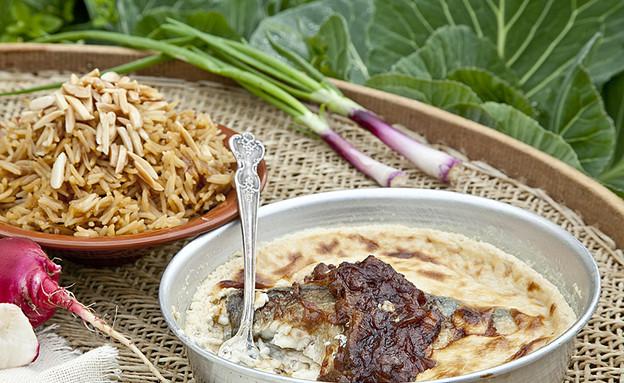 סינייה דג וטחינה עם אורז חום (צילום: אסף אמברם, אוכל טוב)