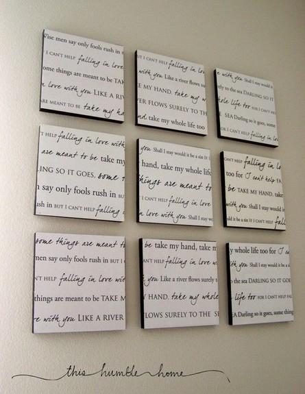 חדרי שינה 01, הכנה עצמית של תמונות המצטטות שיר אהוב