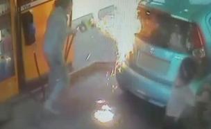 צפו בהצתה ובתגובה המהירה (צילום: מרחב מורייה במשטרה)