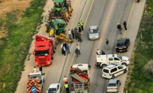 זירת התאונה בפברואר האחרון (צילום: אגף התנועה)