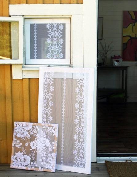 מוצרים נגד יתושים, גובה, רשתות ביתיות נגד יתושים ממסגרות עץ ותחרה (צילום: diyordie.elleinterior.se)