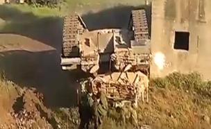 """תיעוד: טנק של צה""""ל מתהפך באימון (צילום: חדשות 2)"""