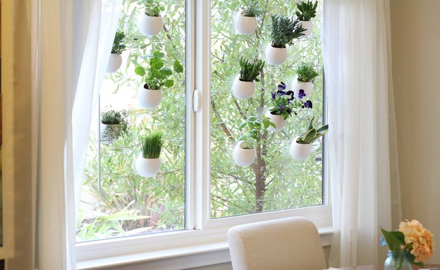 אדניות 01, עציצים הנצמדים לחלון בעזרת ואקום (צילום: windowpods.org)