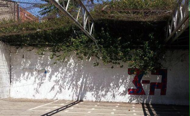 """החצר של פלוגה ג' (צילום: דובר צה""""ל)"""