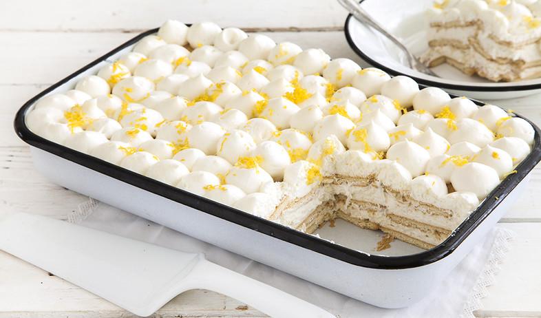 עוגת ביסקוויטים עם קרם גבינה לימוני