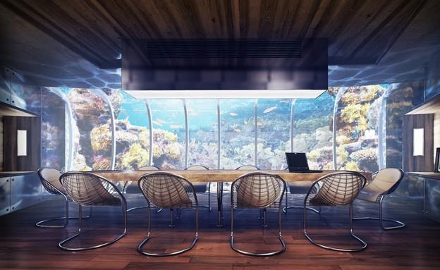 מלון מתחת למים, שולחן, Water Discus Hotel Dubai (צילום: Water Discus Hotel Dubai)