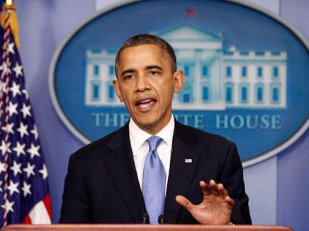 """אובמה בנאום לאומה בעקבות הוריקן """"סנדי"""" (צילום: חדשות 2)"""